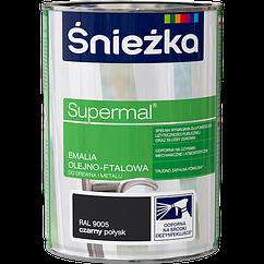 Емаль олійно фталева Sniezka SUPERMAL ЧОРНА (RAL9005) ГЛЯНЕЦЬ 0,8л  PL