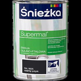 Эмаль маслянно фталевая Sniezka SUPERMAL ЧЕРНАЯ (RAL9005) ГЛЯНЕЦ 0,8л PL