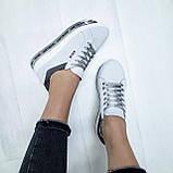 Женские кроссовки на платформе белая замша, фото 4