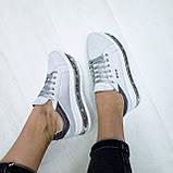 Женские кроссовки на платформе белая замша, фото 5