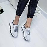 Женские кроссовки на платформе белая замша, фото 3