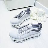 Женские кроссовки на платформе белая замша, фото 6