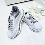 Женские кроссовки на платформе белая замша, фото 2