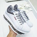 Женские кроссовки на платформе белая замша, фото 7