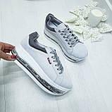 Женские кроссовки на платформе белая замша, фото 9