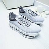 Женские кроссовки на платформе белая замша, фото 8