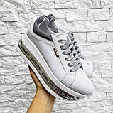 Женские кроссовки на платформе белая замша, фото 10