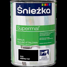 Эмаль маслянно фталевая Sniezka Supermal ЧЕРНАЯ 0,8л PL (F105) МАТОВАЯ