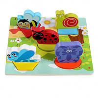 Деревянная развивающая игрушка Рамка-вкладыш (для малышей) Насекомые