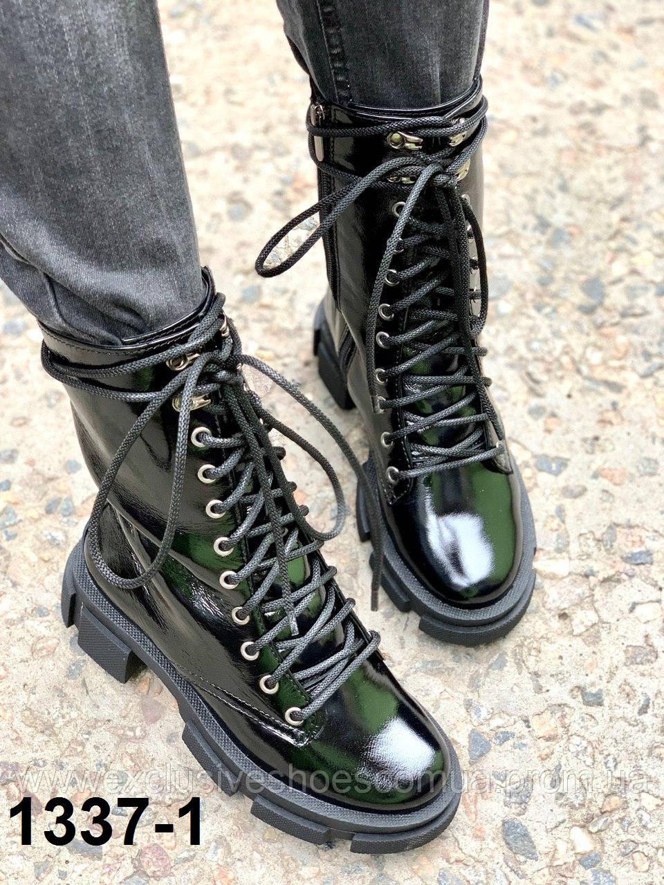 Жіночі шкіряні черевики-берці чорний наплак
