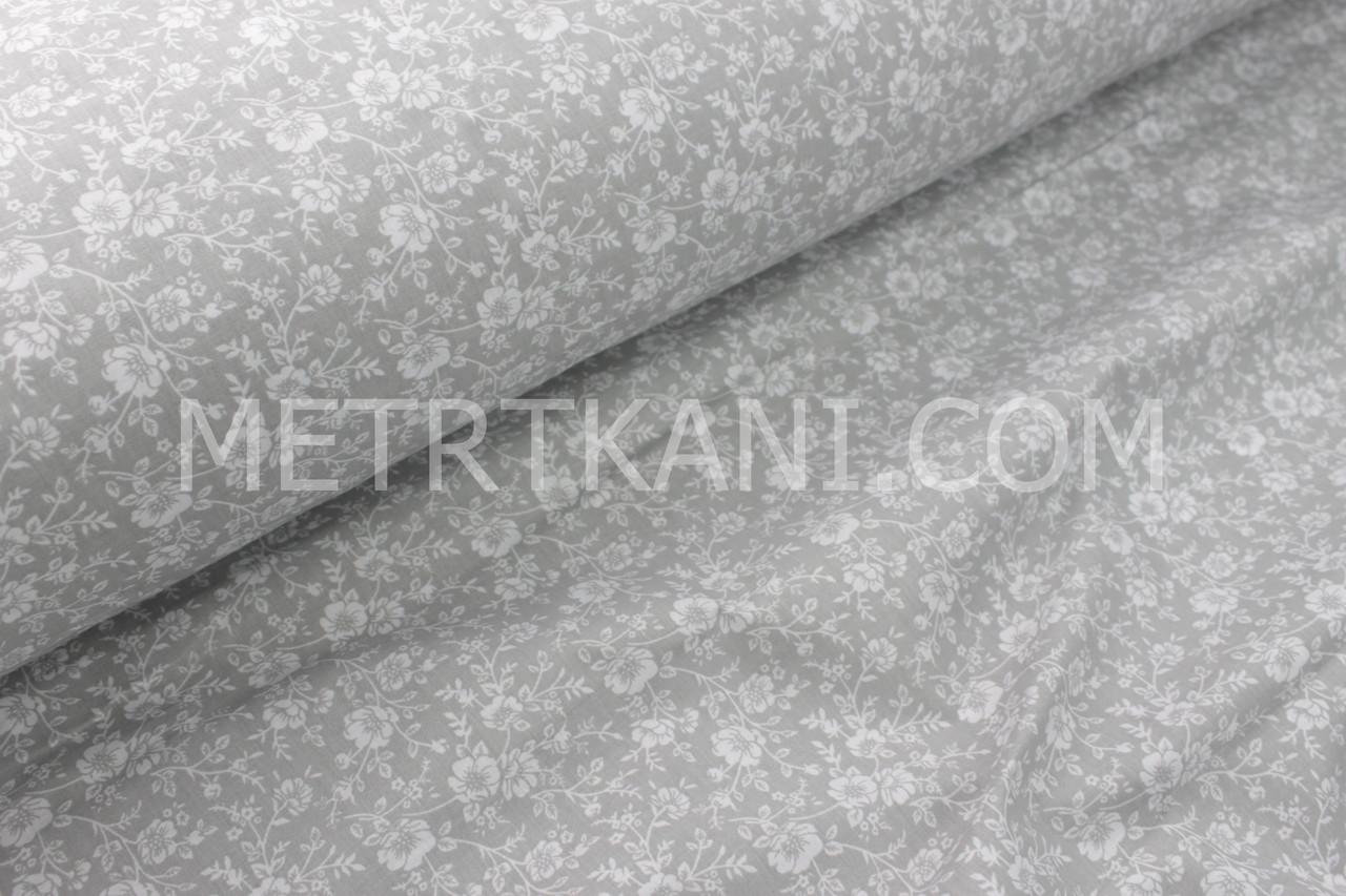 Ткань хлопковая с белыми цветами и веточками  на сером  фоне №1742