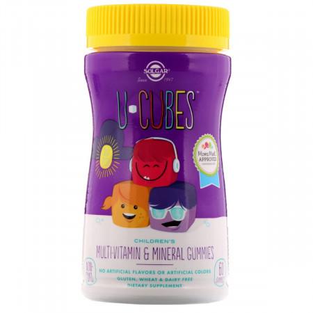 Мультиминеральный и Мультивитаминный Комплекс для Детей Solgar U-Cubes (120 желейных конфет)