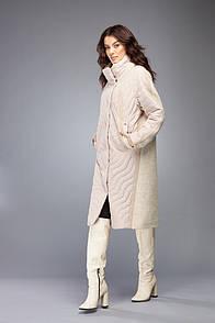 Пальто женское молочное комбинированное с плащевки Marshal Wolf