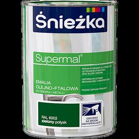 Эмаль маслянно фталевая Sniezka Supermal SUPERMAL ЗЕЛЕНАЯ 0,8л RAL6002