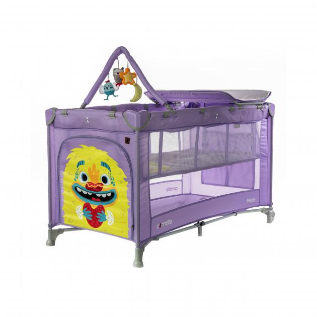 Детская кровать манеж со вторым дном Фиолетовый манеж для ребенка с рождения