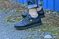 Кроссовки натуральная кожа черные с тиснением, фото 1