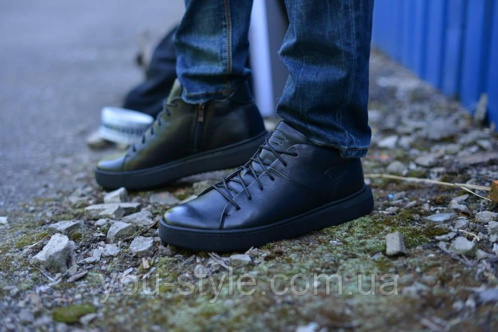 Ботинки укороченные натуральная кожа черные