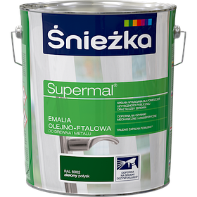 Эмаль маслянно фталевая Sniezka Supermal ЗЕЛЕНАЯ 10л RAL6002