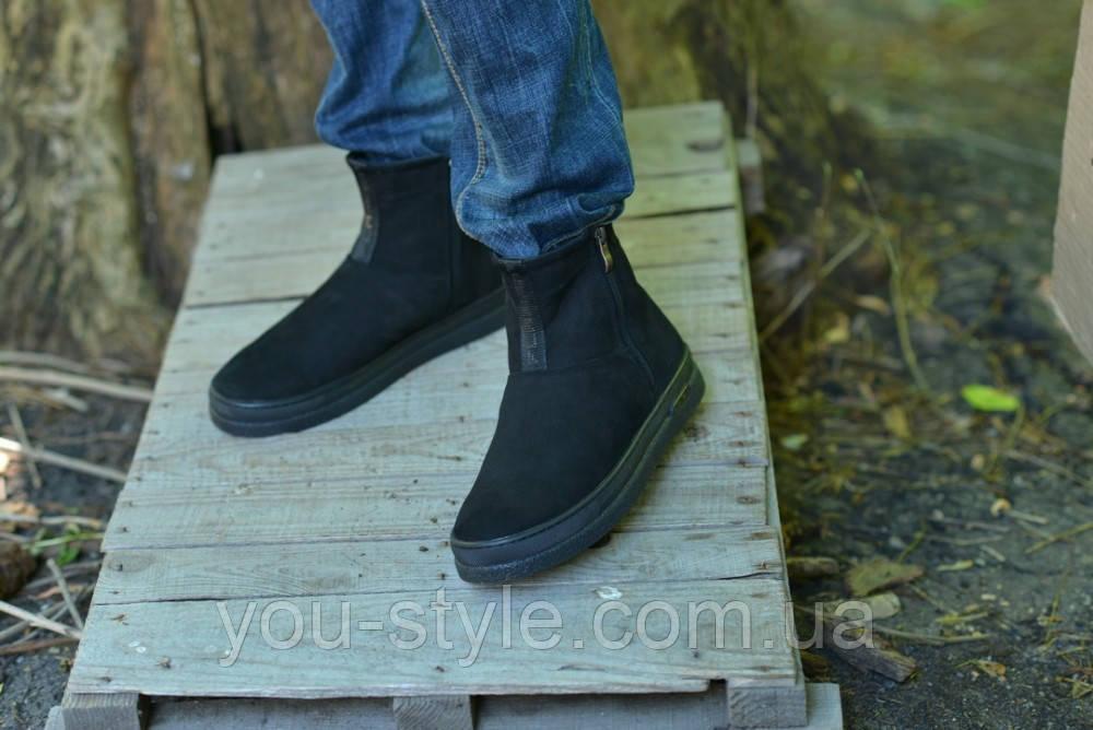 Ботинки натуральная замша черные без шнурка
