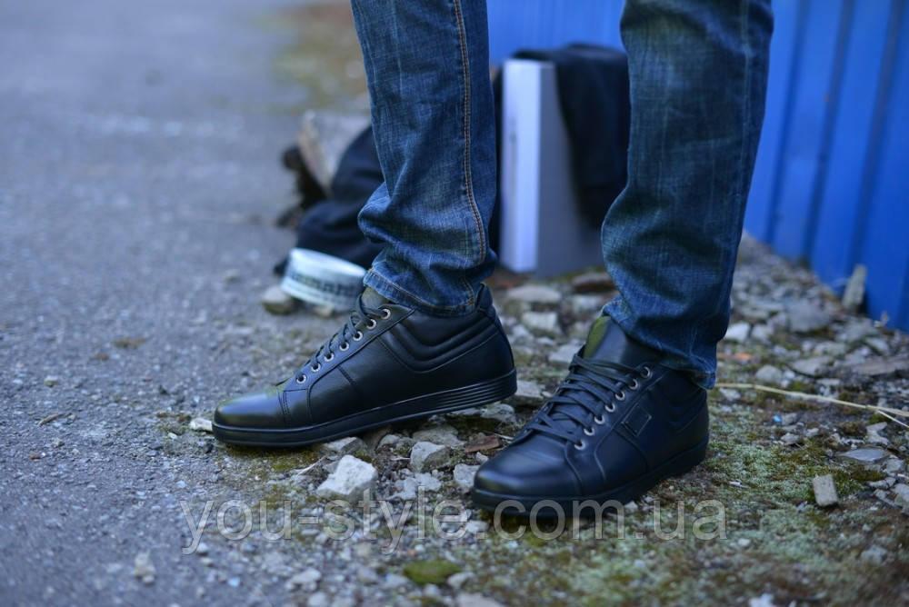 Ботинки натуральная кожа укороченные черные