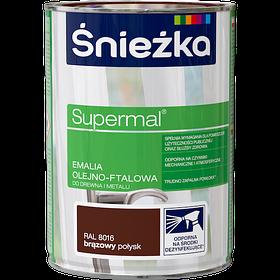 Краска для дерева и металла Супер эмаль КОРИЧНЕВАЯ 0,8л RAL8016