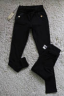Утепленные леггинсы с начесом, черного цвета, на девочек 7-12 лет