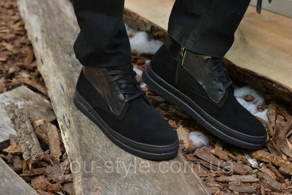 Ботинки мужские натуральная замша с кожей черные