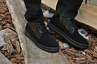 Ботинки мужские натуральная замша с кожей черные, фото 1