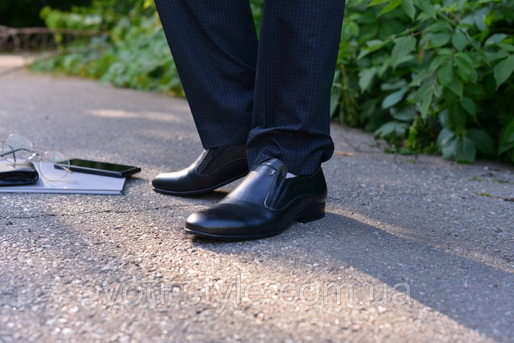 Туфли натуральная кожа черные без шнурка