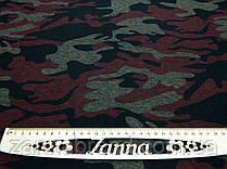 Ткань джерси камуфлированный принт красного цвета