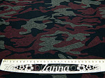 Тканина джерсі камуфльований принт червоного кольору