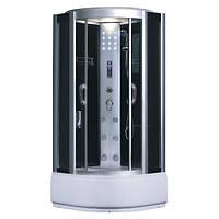 SW-8809, гидробокс Fabio с панелью управления, 90 х 90 см, рама сатин, стекло серое, заднее стекло чёрное