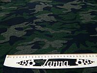 Ткань джерси камуфлированный принт зеленого цвета, фото 1