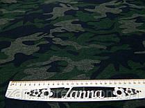 Ткань джерси камуфлированный принт зеленого цвета
