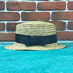 Канотье соломенная шляпа City-a Бежевая с черной широкой лентой