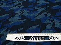 Ткань джерси камуфлированный принт синего цвета, фото 1
