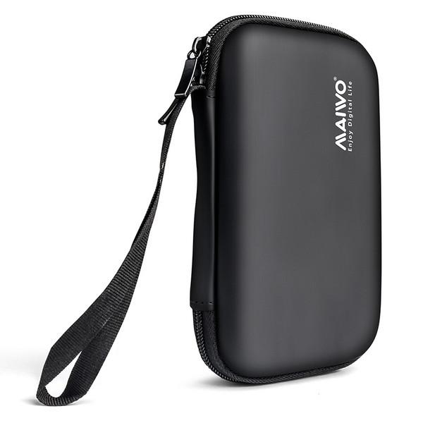 """Чехол Maiwo защитный для внешних HDD 2,5"""" плотный софт-тач PU-материал иск.кожа, на молнии, черный (KT02"""