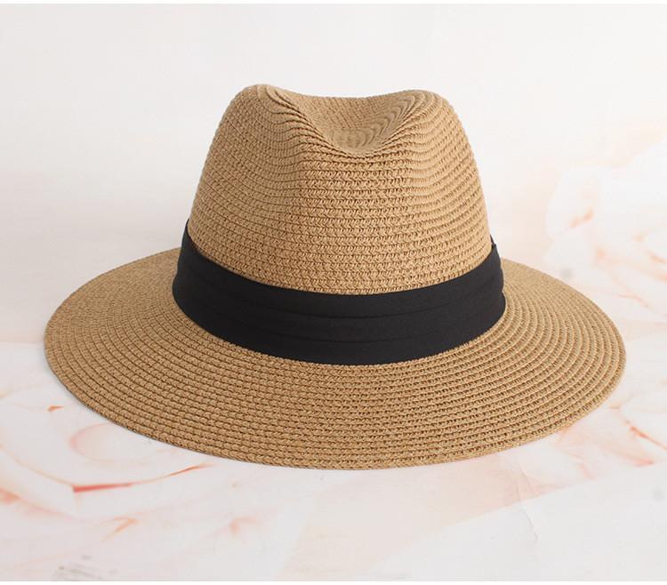 Шляпа Федора с широкими полями Канотье City-A Светло-Коричневая с черной лентой