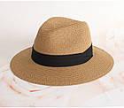 Шляпа Федора с широкими полями Канотье City-A Светло-Коричневая с черной лентой, фото 2