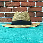 Шляпа Федора с широкими полями Канотье City-A Светло-Коричневая с черной лентой, фото 3