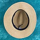 Шляпа Федора с широкими полями Канотье City-A Светло-Коричневая с черной лентой, фото 4