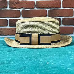 Канотье соломенная шляпа City-a Бежевая с черной-золотой широкой лентой