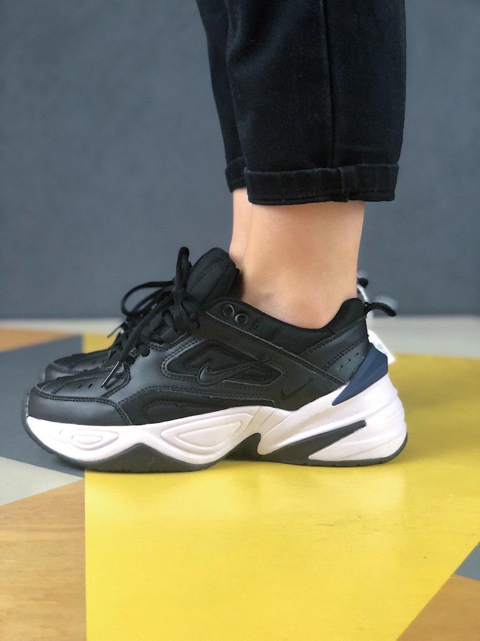 Женские осенние кроссовки Nike M2k Tekno (black/white), кроссовки Найк М2к Текно (Реплика ААА)