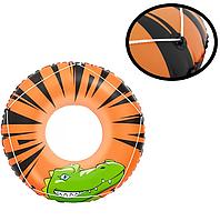 Детский надувной круг для плавания (с веревками по контуру) яркий безопасный диаметр 119 см винил