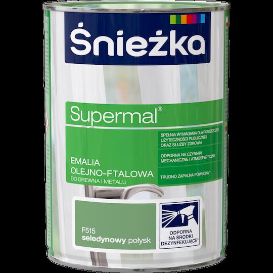 Масляно-фталевая эмаль для дерева и металла Sniezka Supermal САЛАТОВЫЙ F515 0.8л