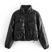 Женская демисезонная куртка короткая  дутая из эко кожи. Пуховик осенний в стиле Zara (черный) M, фото 1