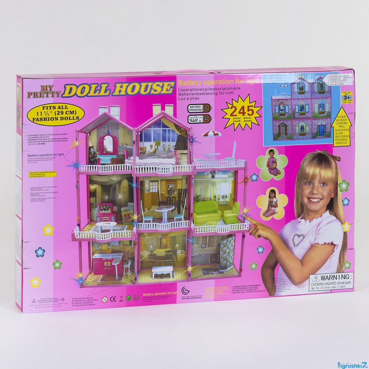 Домик для кукол 6992  3 этажа, свет, мебель высота 109 см