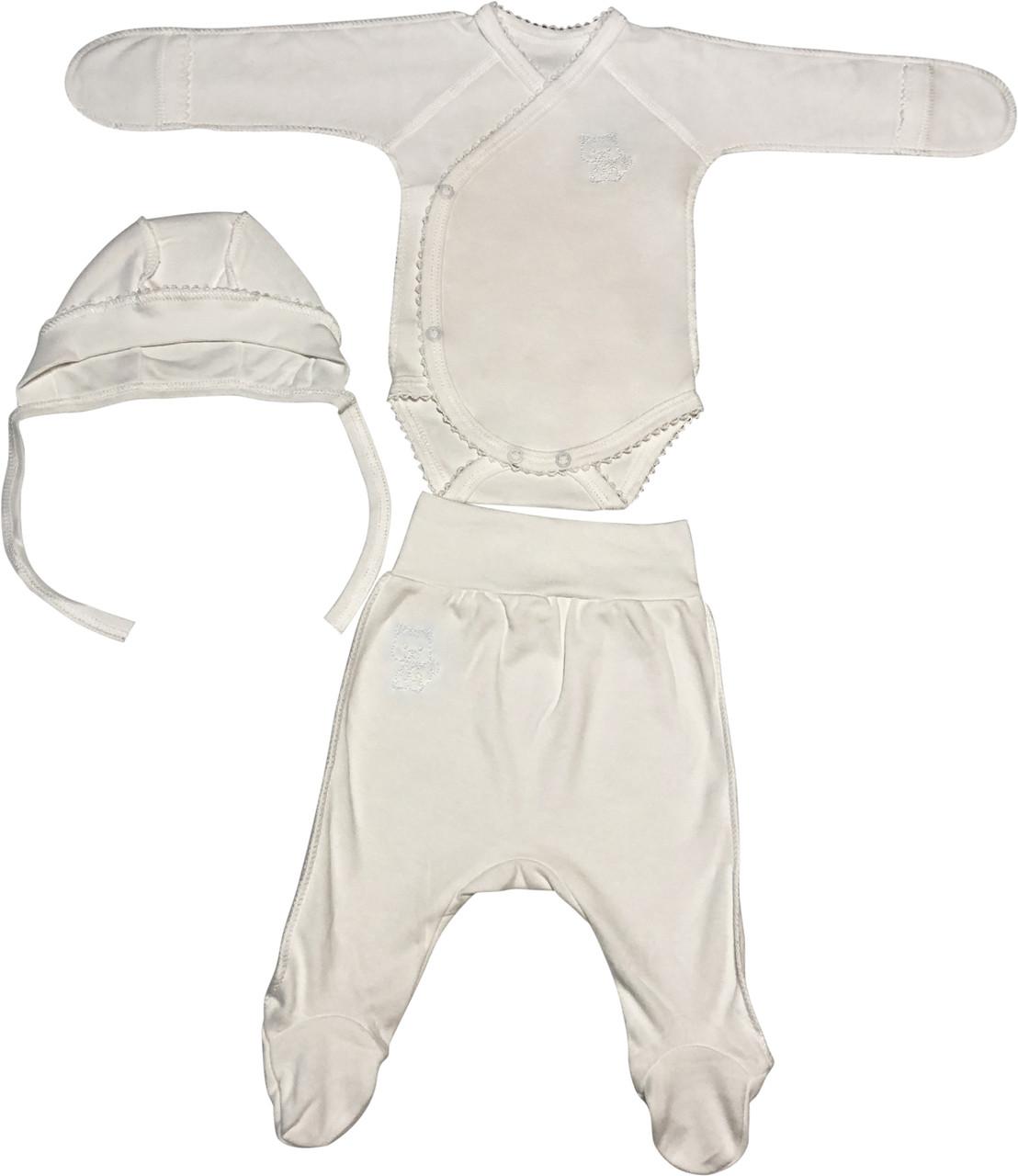 Дитячий костюм зростання 62 (2-3 міс.) інтерлок молочний на хлопчика/дівчинку (комплект на виписку) для