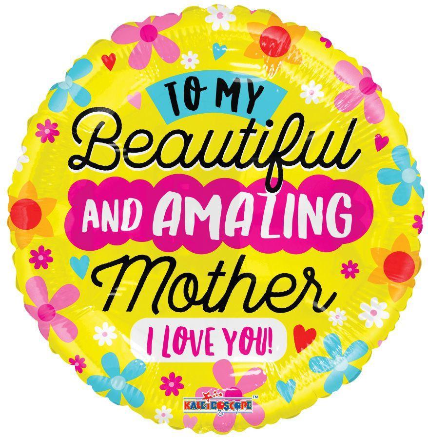 """K 18"""" My Amazing Mom. Фольгированный шар Моей красивой и удивительной Маме"""