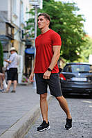 Летний мужской комплект - красная футболка и темно-серые шорты (антрацит)
